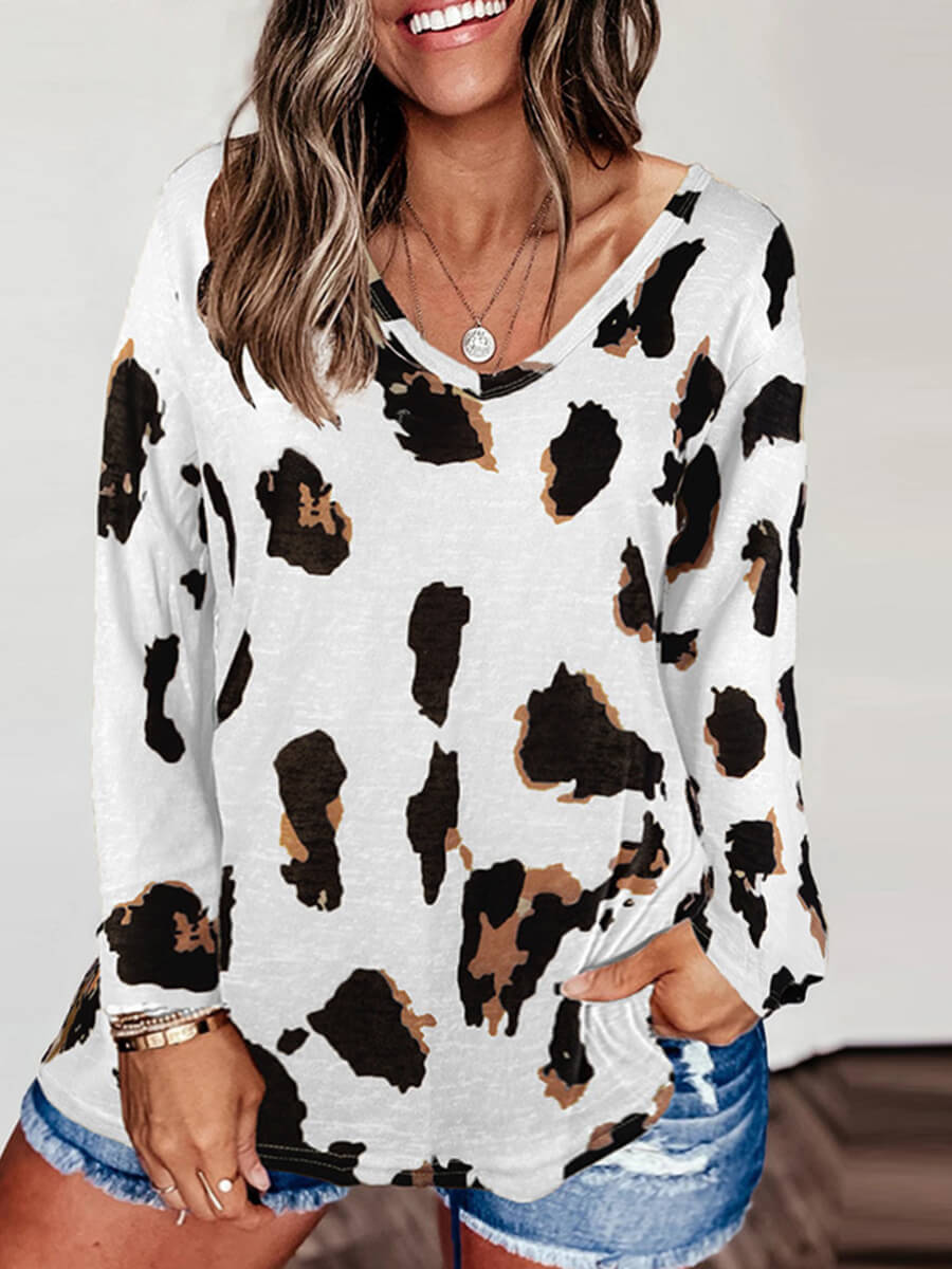 Lovely Casual O Neck Leopard Print Plus Size T-shi