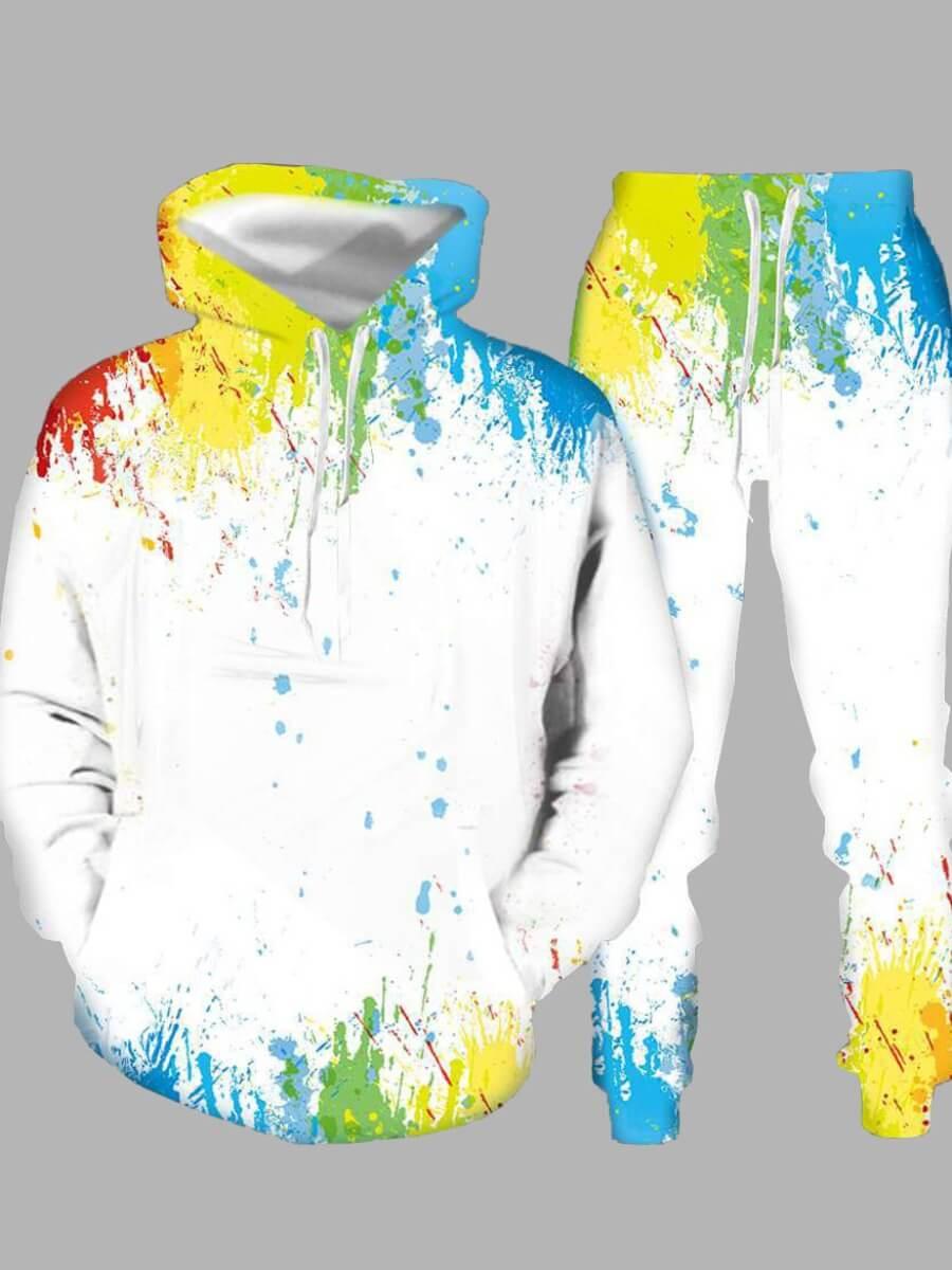 LW Men Splash-ink Design Oversized Pants Set