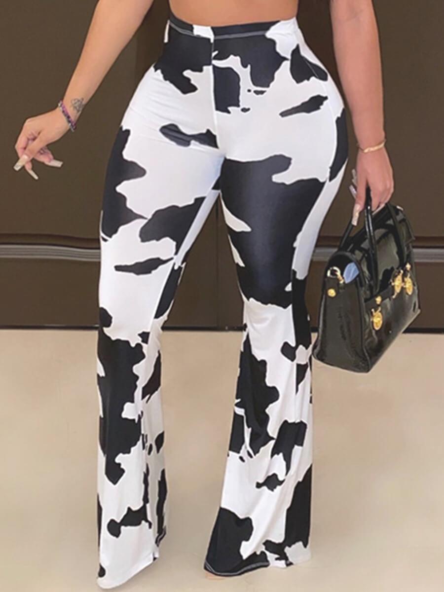 Lovely Trendy Tie-dye White Plus Size Pants