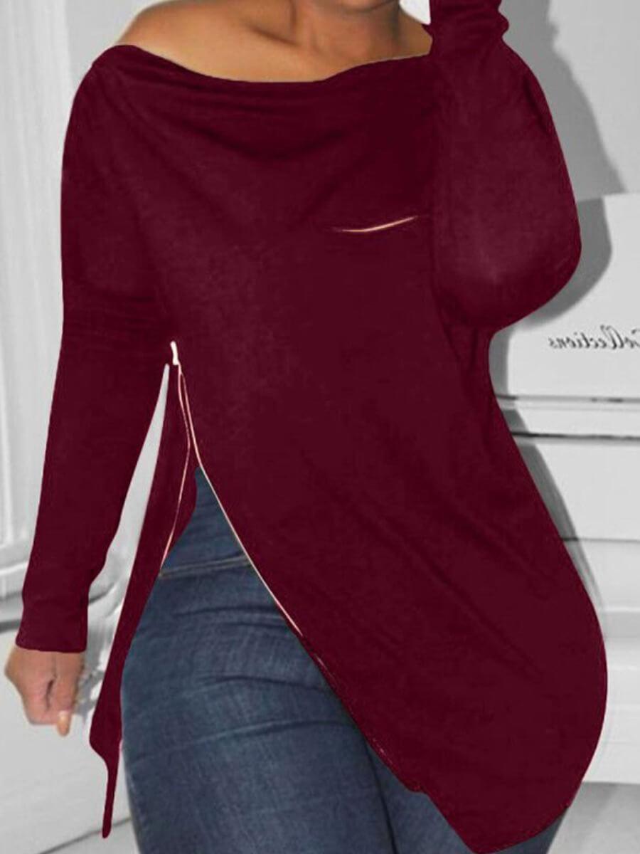 Lovely Casual Zipper Design Asymmetrical Wine Red
