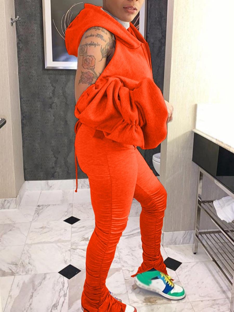 LW Sportswear Hooded Collar Fold Design JacinthTwo Piece Pants Set
