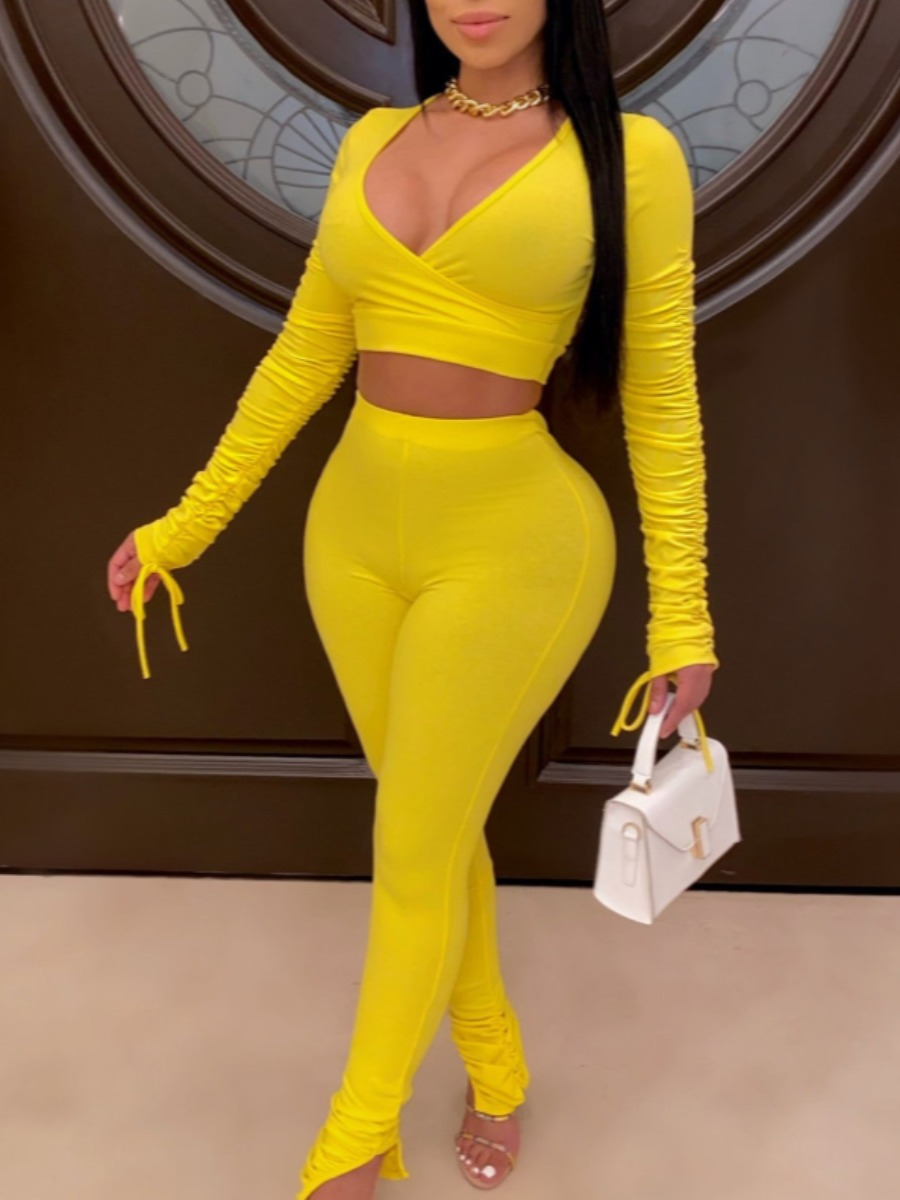 LW Sportswear V Neck Fold Design Yellow Two Piece Pants Set