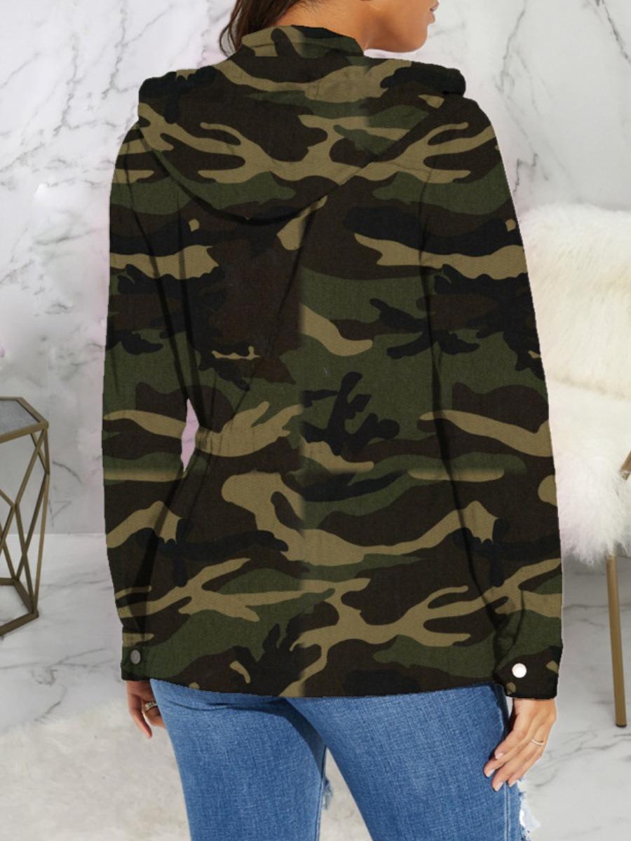 lovely Casual Hooded Collar Zipper Design Camo Print Jacket
