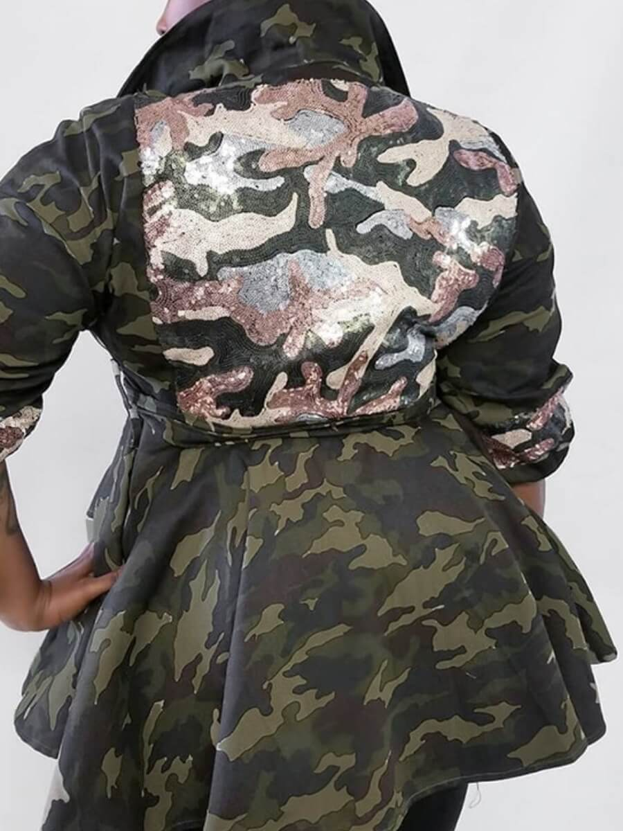 Lovely Casual Turndown Collar Camo Print Army Gree