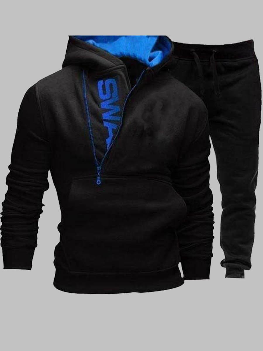 Lovely Men Sportswear Hooded Collar Letter Zipper Design Black Two-piece Pants Set