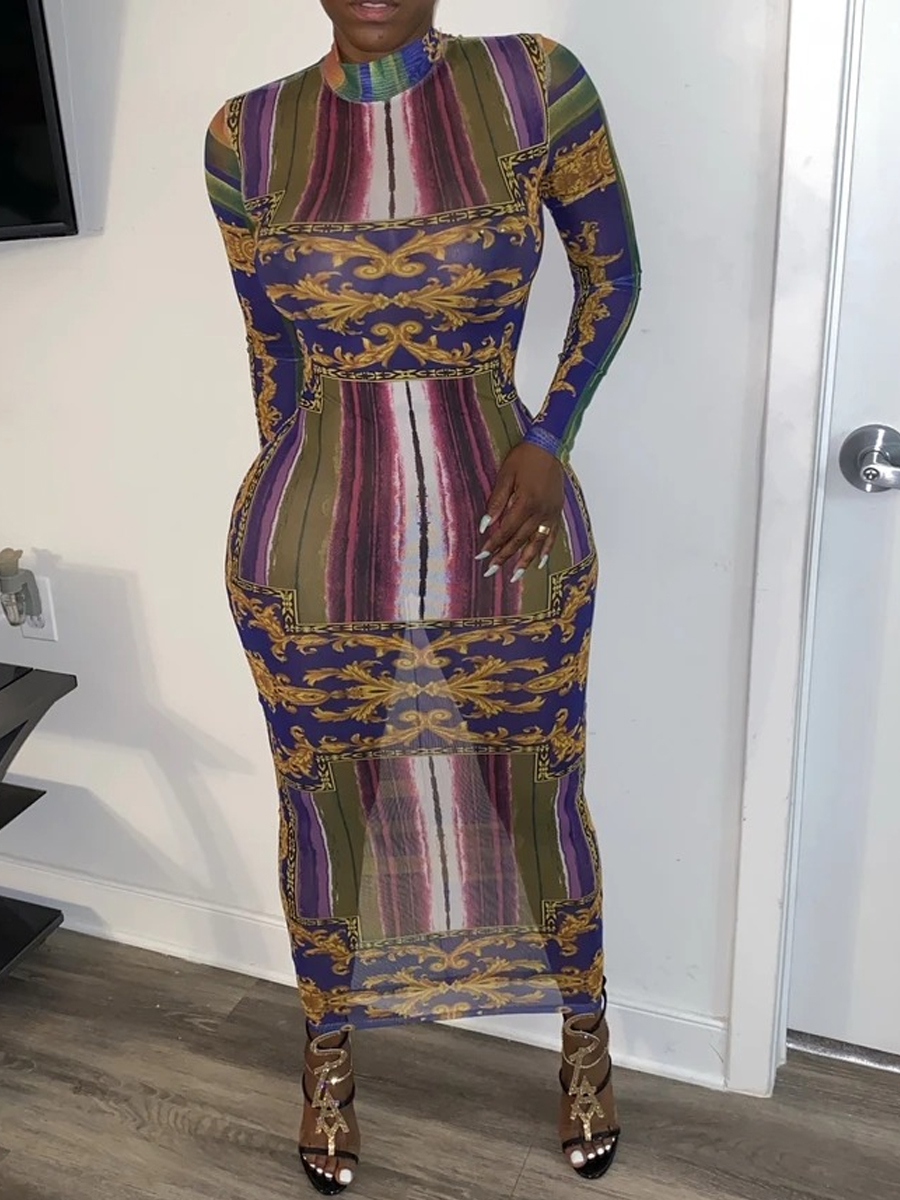 Lovely Trendy O Neck Versace Print Multicolor Ankle Length Dress фото