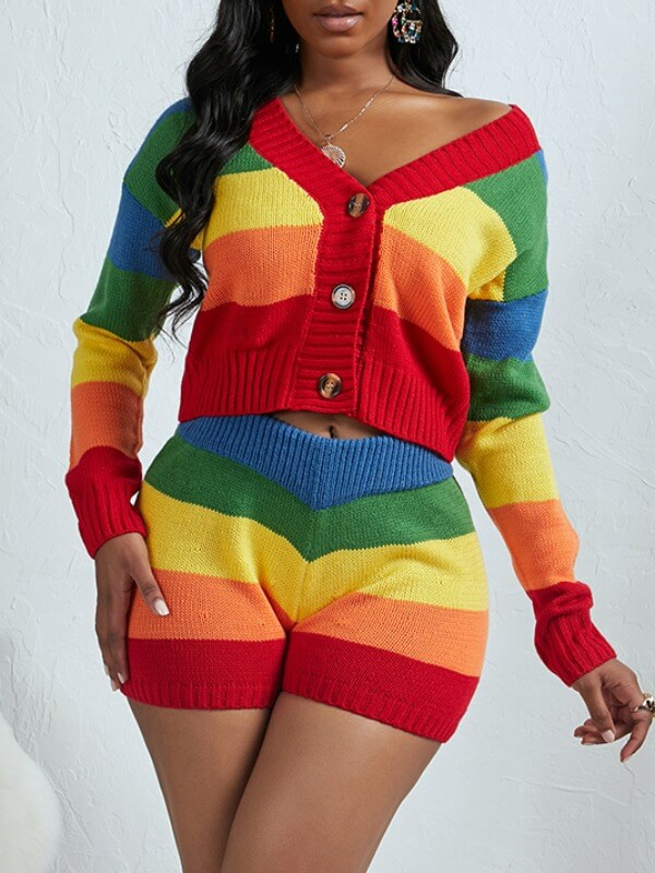 Lovely Stylish V Neck Rainbow Striped Multicolor T