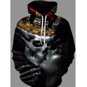Men lovely Street Hooded Collar Print Carbon Black Hoodie