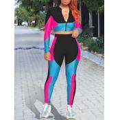 lovely Sportswear Color-lump Patchwork Zipper Desi