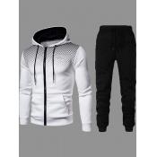 lovely Street Hooded Collar Zipper Design White Two-piece Pants Set