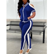 lovely Sportswear Hollow-out Patchwork Dark Blue Two Piece Pants Set