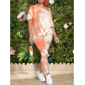 lovely Trendy Backless Tie Dye Orange Two Piece Pants Set