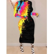 Lovely Casual Graffiti Print Yellow Mid Calf Dress