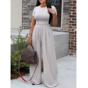 lovely Casual O Neck Fold Design Greyish White Two Piece Pants Set