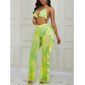 lovely Sexy Lace-up Tie Dye Yellow Two Piece Pants