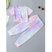 lovely Street O Neck Tie-dye Purple Girl Two-piece Pants Set