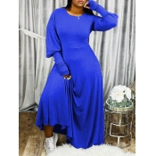 Lovely Casual Puffed Sleeves Loose Blue Maxi Dress