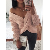 Lovely Street Knot Design Pink Sweater