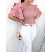 lovely Sweet O Neck Flounce Design Pink Blouse