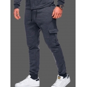 lovely Casual Pocket Patched Dark Grey Pants