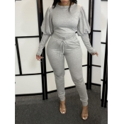 Lovely Leisure Puffed Sleeves Drawstring Grey Two Piece Pants Set