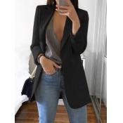 lovely Casual Turndown Collar Basic Black Blazer