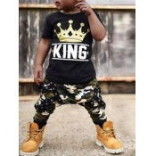 Lovely Casual O Neck Print Black Boy Two-piece Pants Set