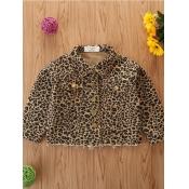 Lovely Trendy Turndown Collar Leopard Print Girl Coat