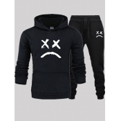 Lovely Leisure Hooded Collar Print Black Men Two-piece Pants Set