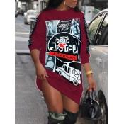 Lovely Street O Neck Print Wine Red Knee Length Dress