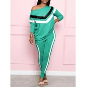 Lovely Sportswear O Neck Patchwork Green Two Piece Pants Set