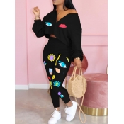 Lovely Casual Print Black Two Piece Pants Set
