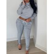 lovely Sportswear Turtleneck Patchwork Grey Two Piece Pants Set