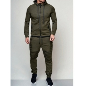 lovely Sportswear Hooded Collar Patchwork Army Green Men Two-piece Pants Set