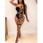 lovely Trendy One Shoulder Leopard Print Patchwork One-piece Jumpsuit