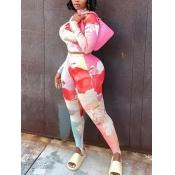 Lovely Sportswear Turtleneck Print Pink Two Piece Pants Set(Batch Print)