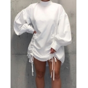 Lovely Casual Half A Turtleneck Fold Design White Mini Dress