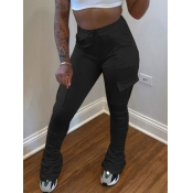 Lovely Street Pocket Patched Black Pants