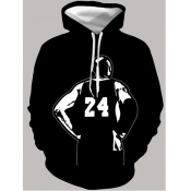 lovely Casual Hooded Collar Print Black Men Hoodie