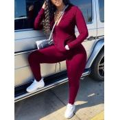 lovely Sportswear Zipper Design Red Plus Size Two-piece Pants Set