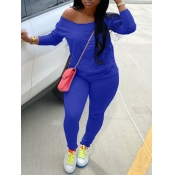 lovely Casual Basic Skinny Deep Blue Plus Size Two-piece Pants Set