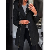 Lovely Casual Hooded Collar Zipper Design Black Lo