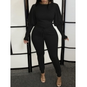 Lovely Leisure Puffed Sleeves Drawstring Black Plus Size Two-piece Pants Set