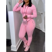 Lovely Casual Hooded Collar Zipper Design Pink Two Piece Pants Set