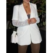 Lovely Stylish Turndown Collar Pocket Patched White Coat
