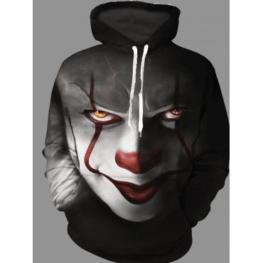 Men lovely Street Hooded Collar Clown Print Pitch-