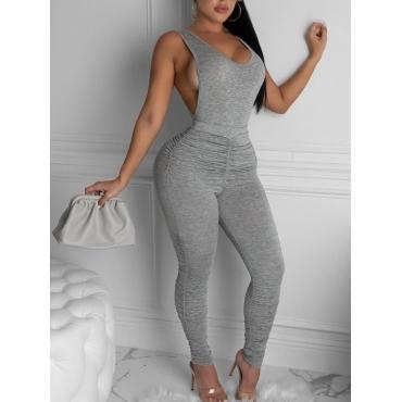 LW Sportswear Backless Fold Design Grey Two Piece Pants Set