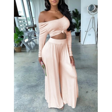 LW Knotted Crop Top Wide Leg Pants Set