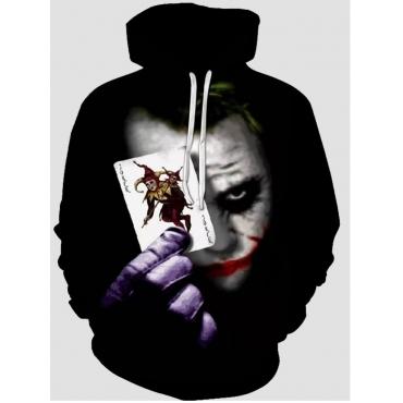 Lovely Street Hooded Collar Clown Print Black Men