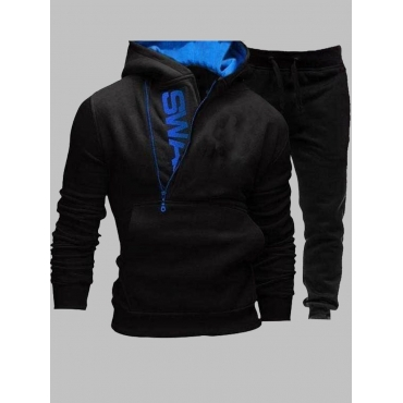 Lovely Sportswear Hooded Collar Letter Zipper Desi